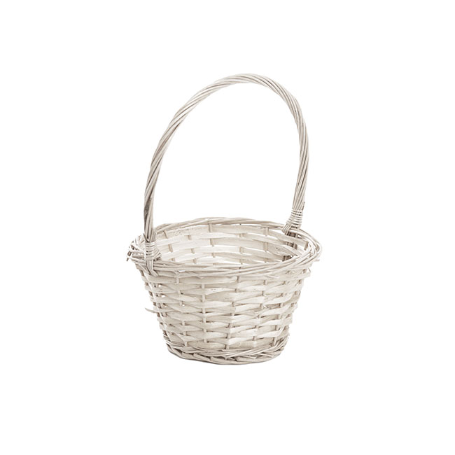 Baskets with Handles - Flower Girl Willow Basket White (20x17x11cmH)
