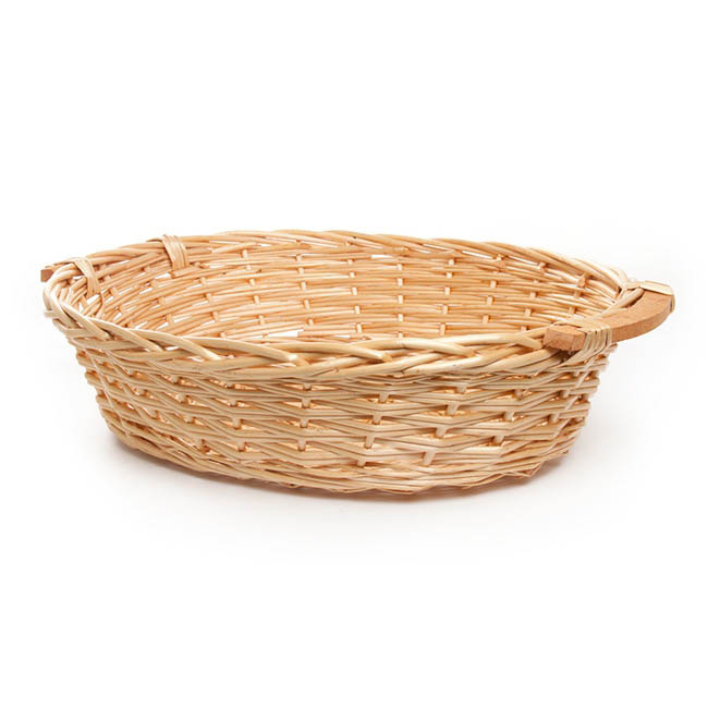 Hamper Tray & Gift Basket - Willow Bread Tray Oval Honey (57x46x14cmH)