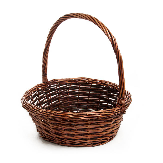 Baskets with Handles - Willow Basket with Handle Round Copper (35cmDx13cmH)