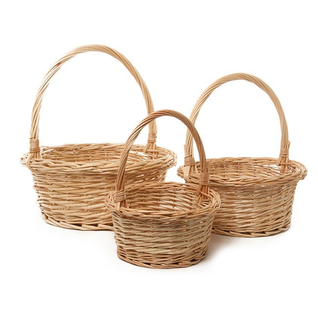 Baskets with Handles - Willow Basket with Handle Round Set of 3 Natural(35Dx13cmH)