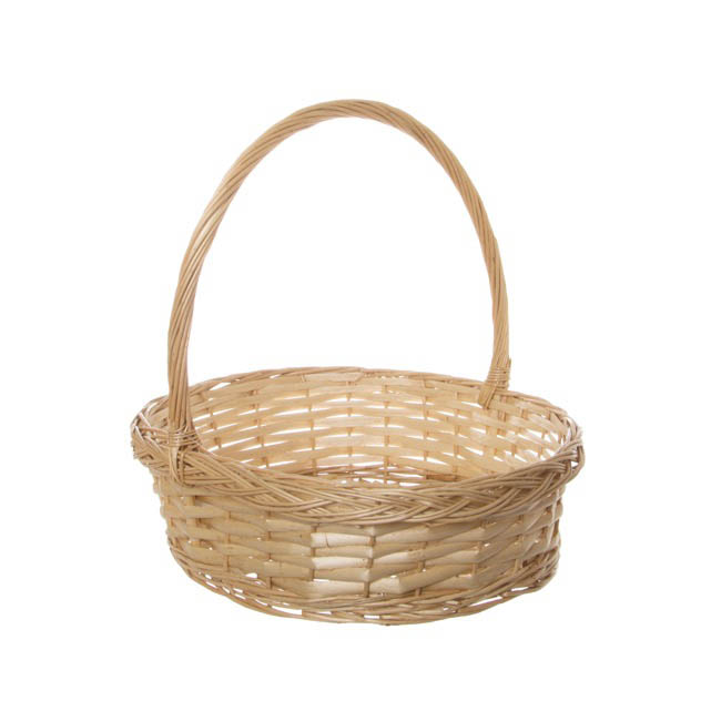Baskets with Handles - Willow Basket Floral Oval with Handle Natural (37x31x10cmH)