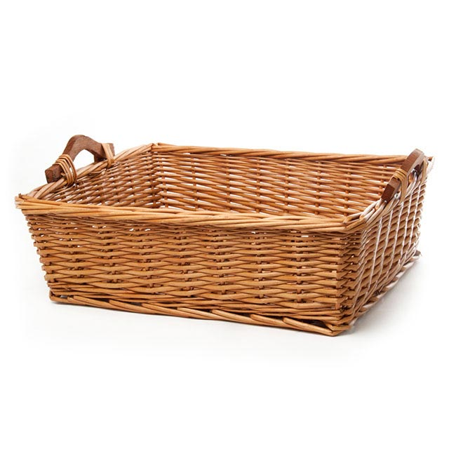 Hamper Tray & Gift Basket - Willow Bread Tray Rectangle Natural (50x39x15cmH)