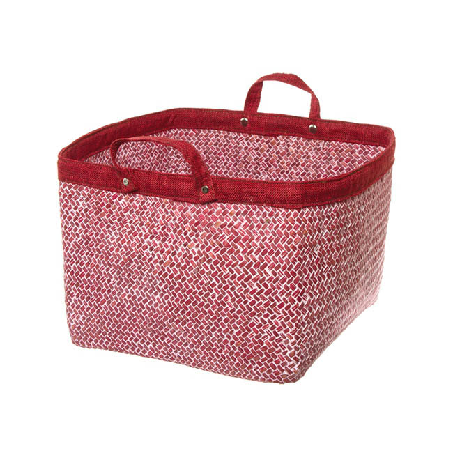 Basket Storage With Handles 29x29x23cmH Red