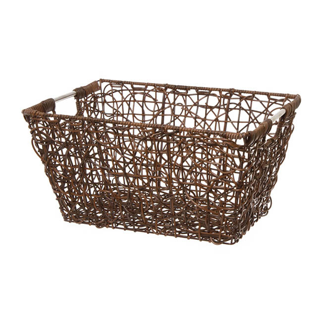 Basket Storage Crazy Weaving Style 39.5x27x20cmH Brown