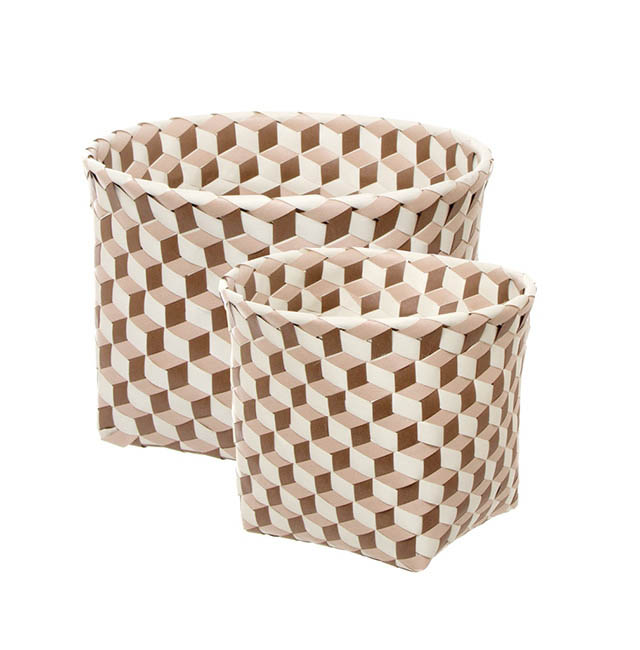 - Diamond Pot Cover Basket Set of 2 Round Brown (24x22cmH)