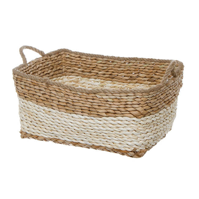 Maize Woven Basket Rect. Beige Jute Handle (35x25x15cmH)