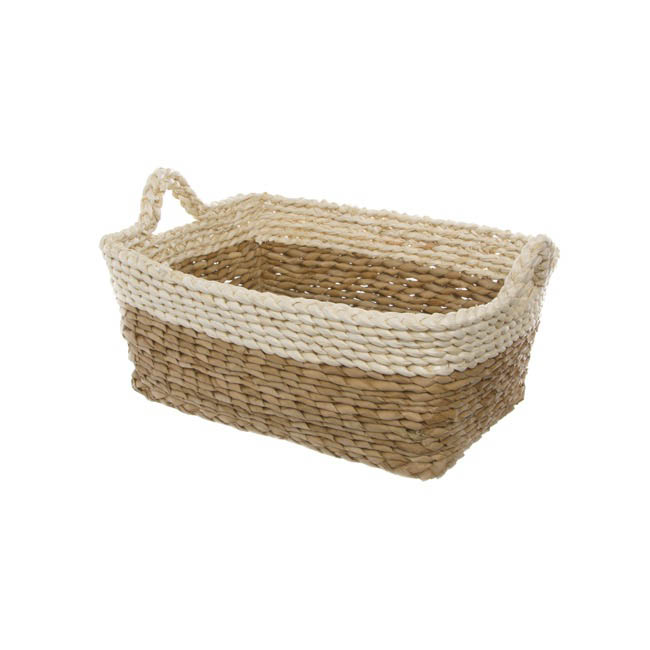 Storage Baskets & Boxes - Maize Woven Storage Basket Rectangle Beige (35x25x15cmH)