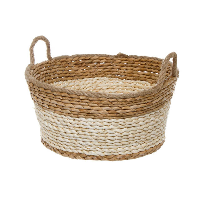Maize Woven Storage Hamper Basket Round Beige (32cmDx15cmH)