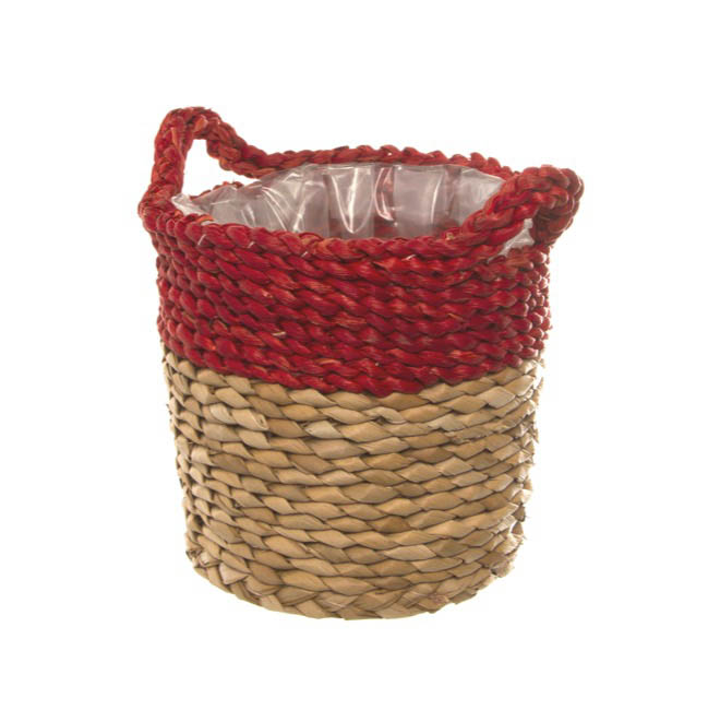 Maize Woven Planter with PVC Liner Red&Natural (28Dx24cmH)