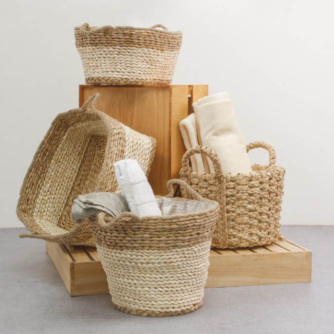 Storage Baskets & Boxes - Maize Woven Basket Square Beige Jute Handle (25x25x15cmH)