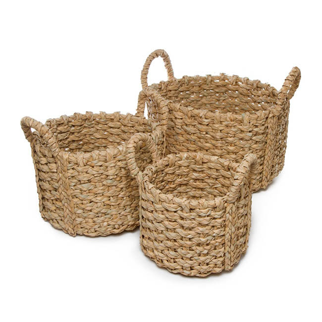 Storage Baskets & Boxes - Premium Storage Baskets Set of 3 Round Natural (33x20cmH)
