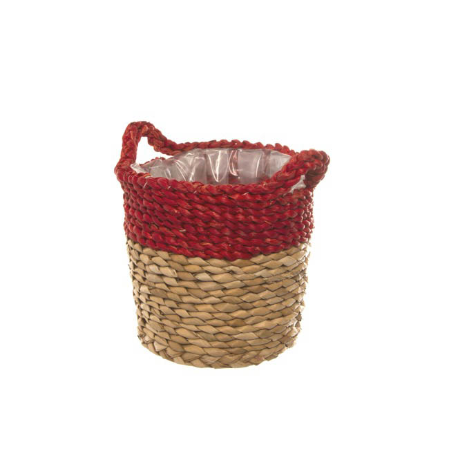 Maize Woven Planter with PVC Liner Red & Natural (19Dx17cmH)