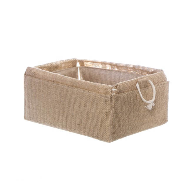 Hamper Tray & Gift Basket - Natural Jute Tray Rectangle Folded (26x17.5x10cmH)