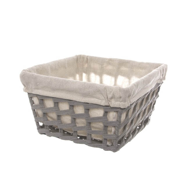 Fabric Woven Storage Basket with Liner Grey (25x25x15cmH)