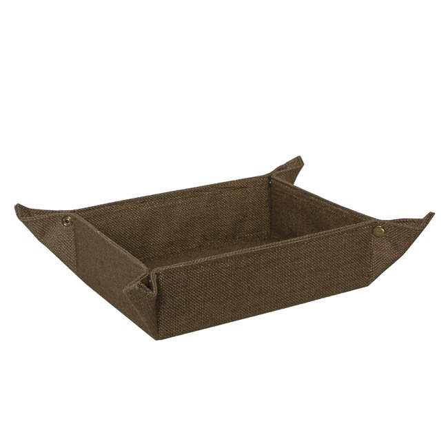 Hamper Tray & Gift Basket - Natural Jute Tray Rectangle Folded Dark Brown(26x17.5x9cmH)