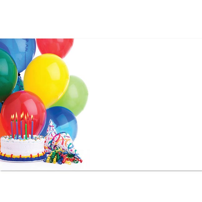 Cards Balloons & Cake 50 Pack (10x6.5cmH)