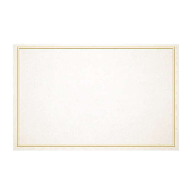 Cards Blank Gold Border 50 Pack (10x6.5cmH)
