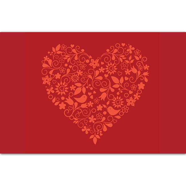 Cards Love Bird Heart 50 Pack  (10x6.5cmH)