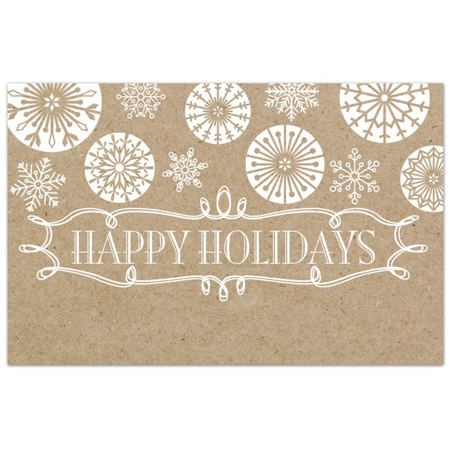 Cards Christmas Happy Holiday Brown Kraft PK50 (10x6.5cmH)