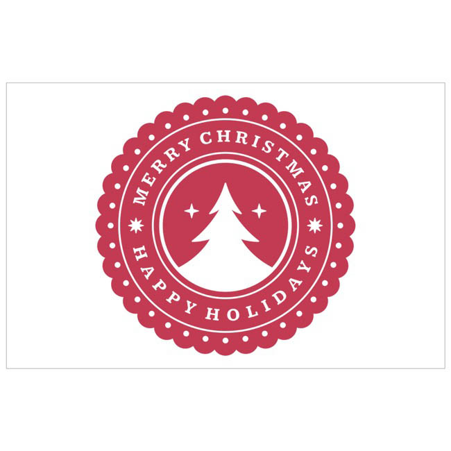 Cards Christmas Tree Stamp Red 50pk (10x6.5cmH)