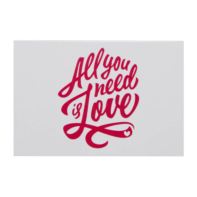 Cards All You Need Is Love 10x6.5cmH 50pk