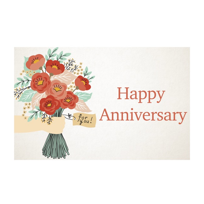 Florist Enclosure Cards - Cards Happy Anniversary Hand Bunch (10x6.5cmH) Pack 50