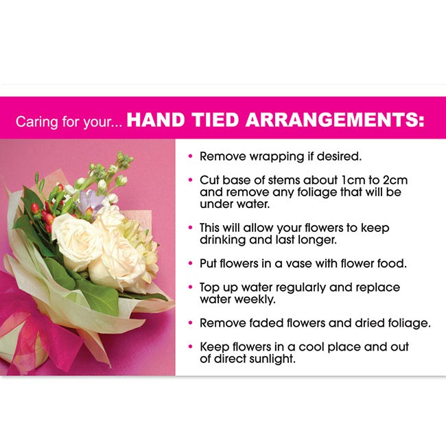 Cards Flower Care Hand Tied Arrangements 50 Pack (10x6.5cmH)