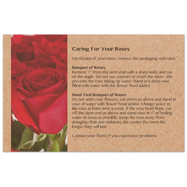 Florist Enclosure Cards - Cards Brown Kraft Flower Care for Roses (10x6.5cmH) Pack 50