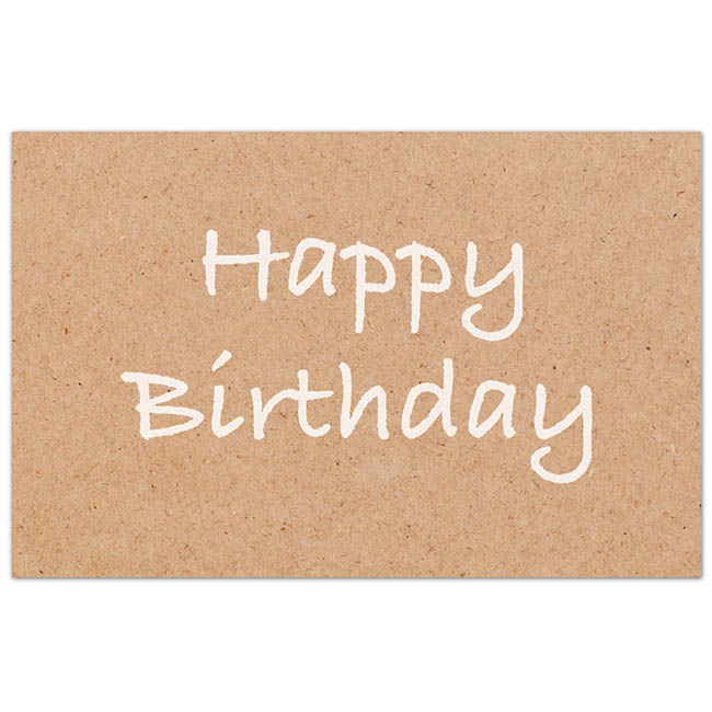 Florist Enclosure Cards - Cards Brown Kraft Happy Birthday (10x6.5cmH) Pack 50