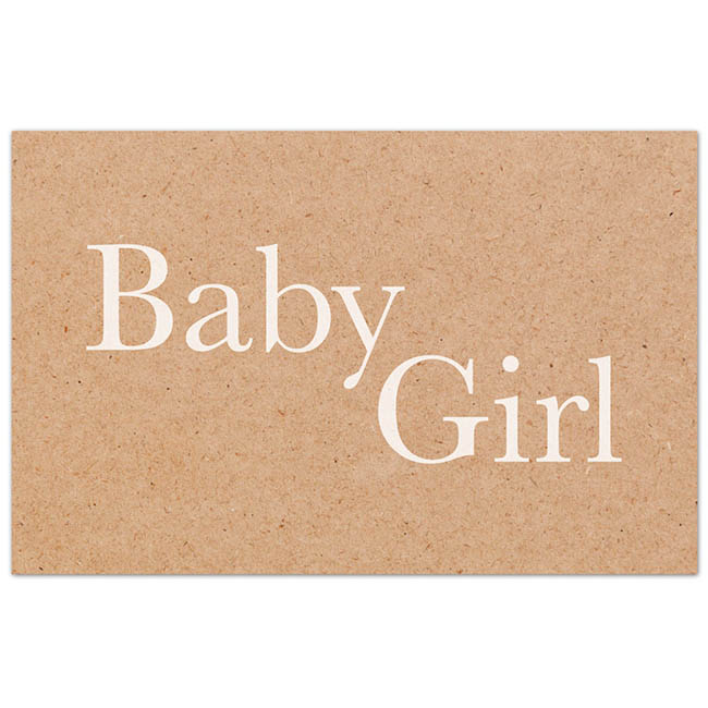 Cards Brown Kraft Baby Girl 50 Pack  (10x6.5cmH)