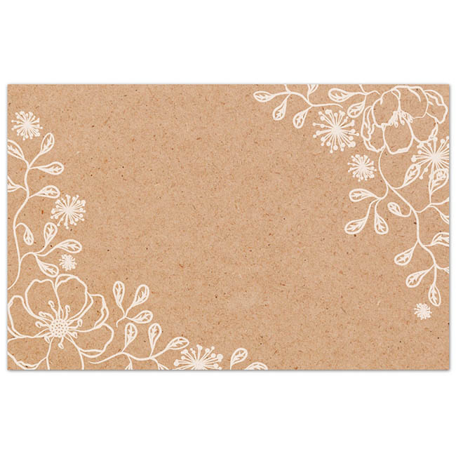 Florist Enclosure Cards - Cards Brown Kraft Floral Border (10x6.5cm) Pack 50
