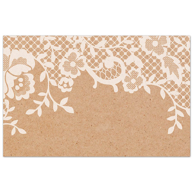 Cards Brown Kraft Lace Frame PK50 (10x6.5cm)