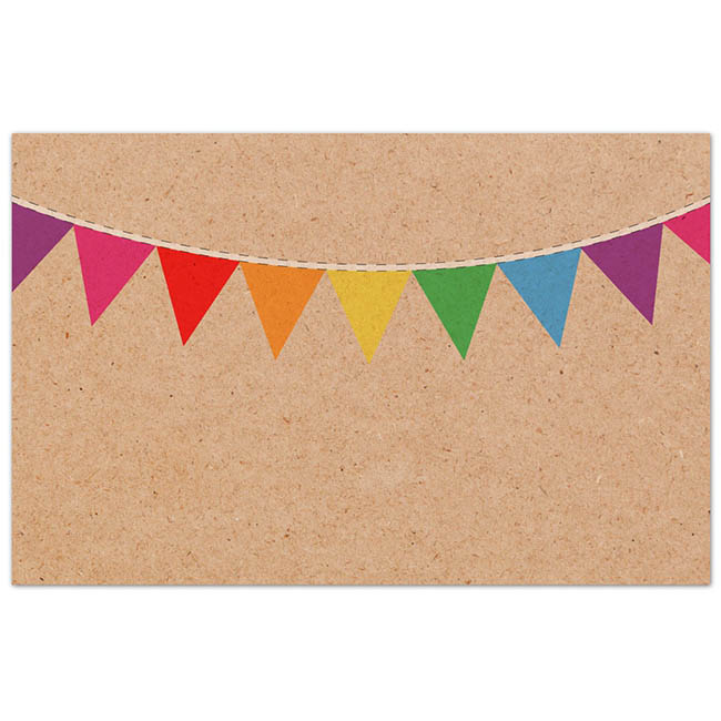 Cards Brown Kraft Multi Colour Party Bunting PK50(10x6.5cm)