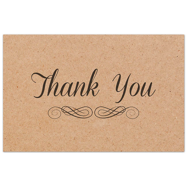 Florist Enclosure Cards - Cards Brown Kraft Thank you (10x6.5cm) Pack 50