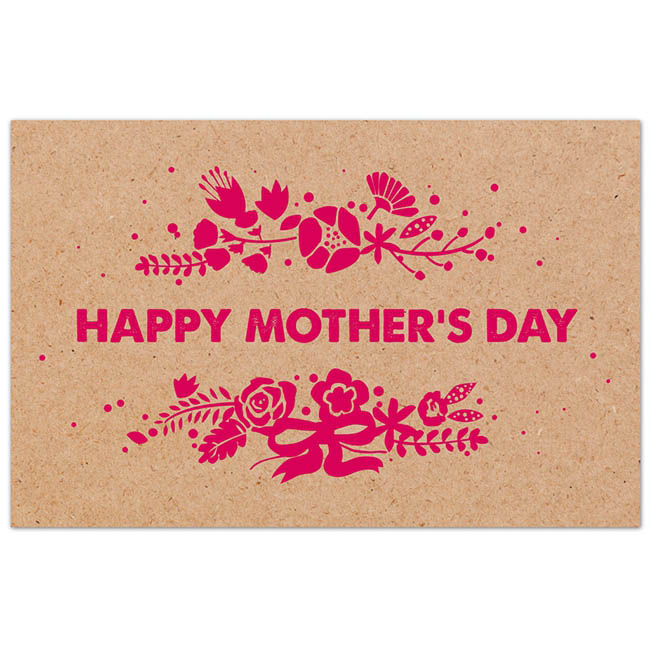 Cards Brown Kraft 'Happy Mother's Day' Pink 50 Pack (10x6.5c