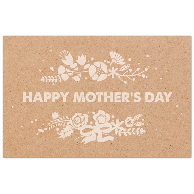 Cards Brown Kraft 'Happy Mother's Day' White 50 Pack (10x6.5