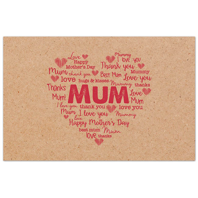 Cards Brown Kraft Love Mum Red 50 Pack (10x6.5cmH)