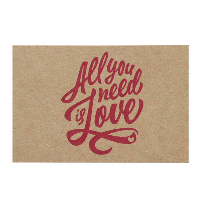 Cards Brown Kraft All You Need Is Love 50pk (10x6.5cmH)