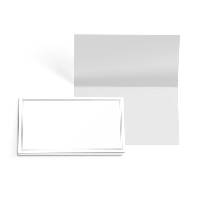 Folded Card with Envelopes Silver Border 24 Pack (10x6.5cmH)