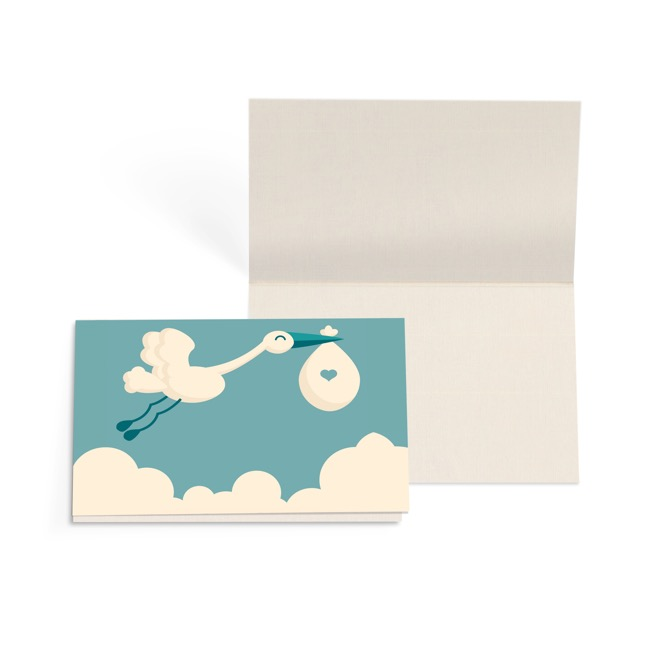 Folded Gift Cards - Folded Card with Envelopes Baby Stork Teal (10x6.5cm)Pack 24