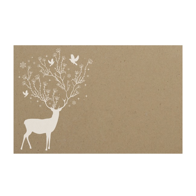 Florist Enclosure Cards - Cards Brown Kraft Christmas Reindeer (10x6.5cmH) Pack 50