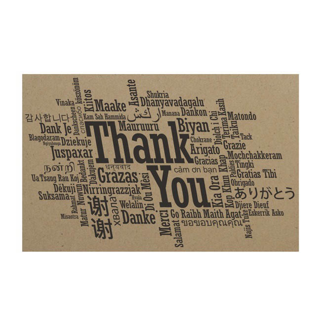 Cards Brown Kraft Thank You Languages 50Pk (10x6.5cmH)