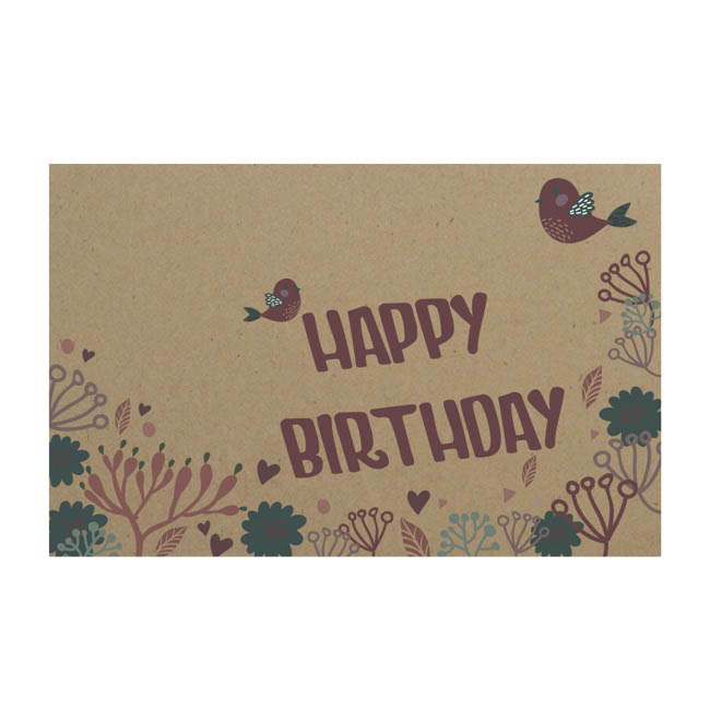 Florist Enclosure Cards - Cards Brown Kraft Happy Birthday Pink Birds(10x6.5cmH) Pk 50