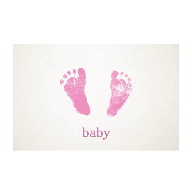 Florist Enclosure Cards - Cards White Baby Foot Pink (10x6.5cmH) Pack 50