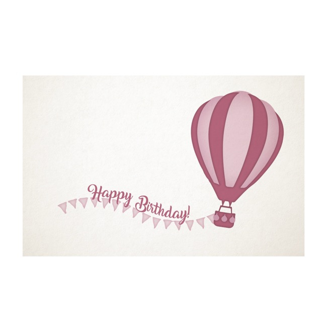 Cards White Birthday Hot Air Balloon Pink 50Pk (10x6.5cmH)