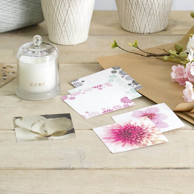 Florist Enclosure Cards - Cards Square Magnolia White (10x10cm) Pack 50
