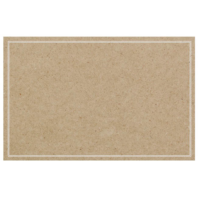 Cards Brown Kraft Blank White Border PK50 (10x6.5cm)