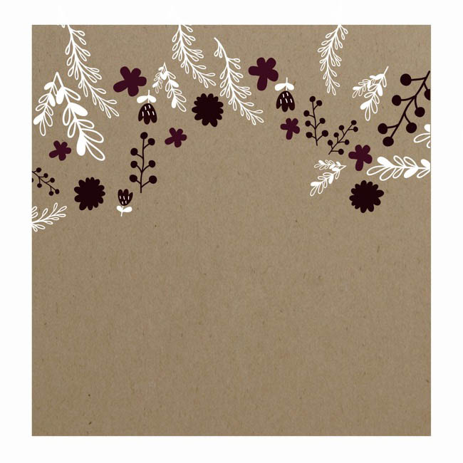 Florist Enclosure Cards - Cards Square Brown Kraft Floral Scatter Pink(10x10cm)Pack 50