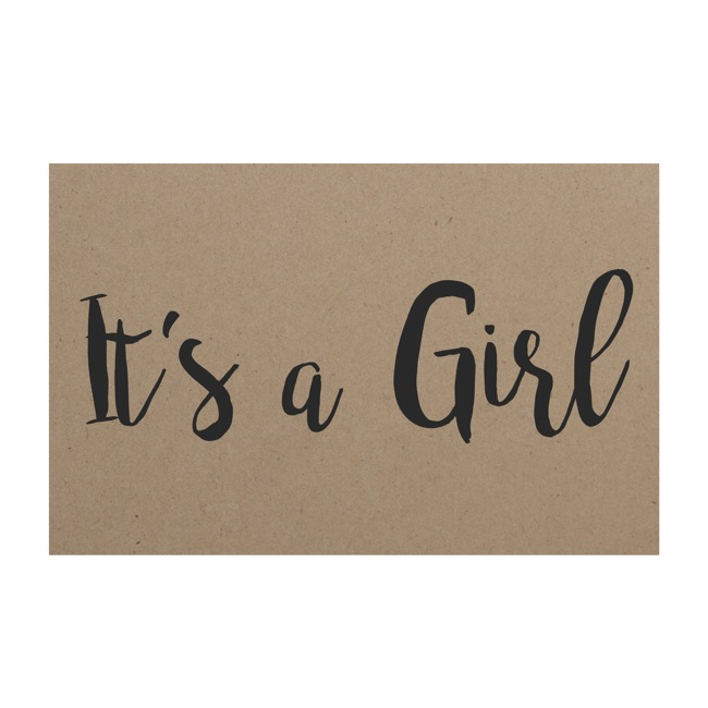 Florist Enclosure Cards - Cards Brown Kraft Its a Girl (10x6.5cmH) Pack 50