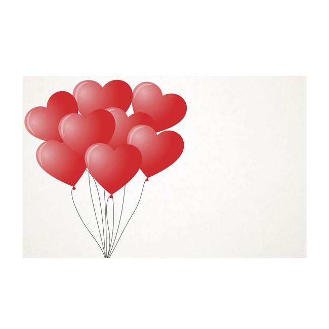 Florist Enclosure Cards - Cards White Heart Balloons Red (10x6.5cmH) Pack 50